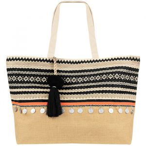 Multicolor Ibiza Beach Bag - Beige/Black