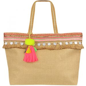 Multicolor Ibiza Beach Bag - Beige/Pink