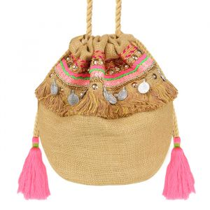 Multicolor Ibiza Bag - Beige/Pink