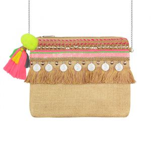 Multicolor Ibiza Clutch - Beige/Pink