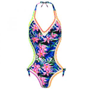 Tropical Flower Swimsuit - Black-XS