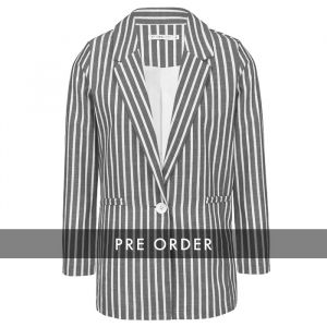 PRE-ORDER - Striped Blazer - Dark Grey