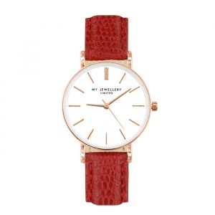 Klein horloge in rood met slangenprint, smal horloge
