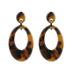 Oval Earring - Brown