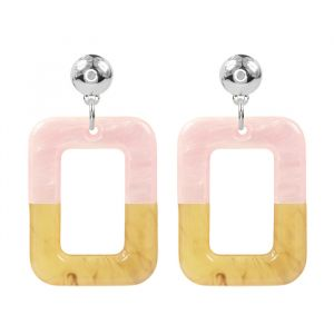 Square Earrings Duo - Pink/Beige