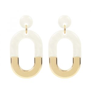 Bicolor Oval Earrings - White