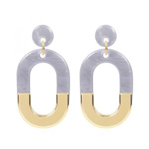 Bicolor Oval Earrings - Purple