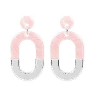 Bicolor Oval Earrings - Pink