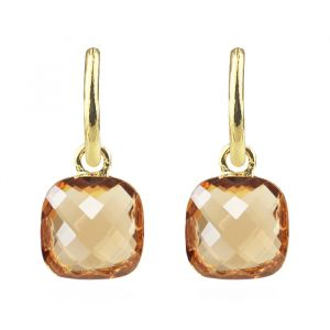 Square Stone Earrings - Brown
