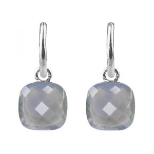 Square Stone Earrings - Grey