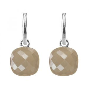 Square Stone Earrings - Army Green