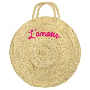 Round Straw Bag L'amour - Pink