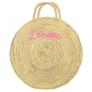 Round Straw Bag L'amour - Light Pink