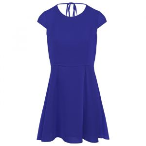 Open Back Skater Dress - Dark Blue