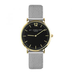 Medium Bicolor Watch - Silver/Gold/Black