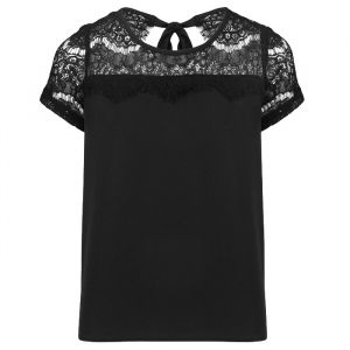 Kanten shirt lage rug, Zwart shirt
