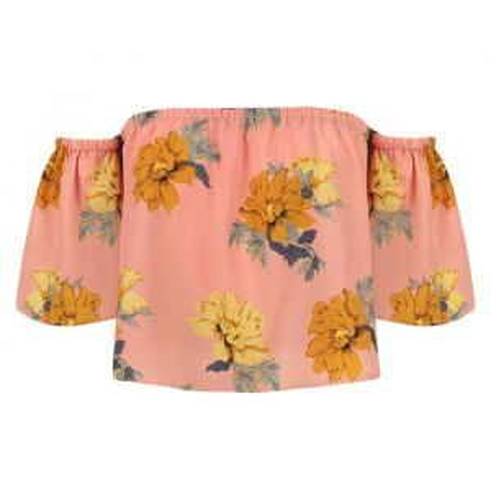 Off shoulder top bloemenprint, off shoulder crop top, roze top