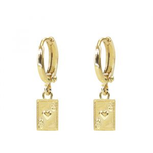 Charm Earring Pair Of Aces - Gold/Silver-Goud