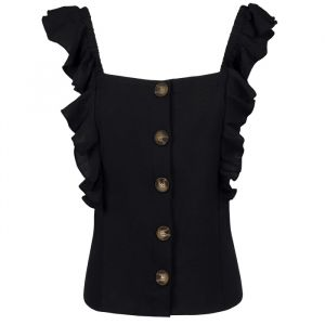 Ruffle Button Top - Black-XS