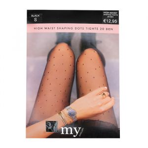 Black High Waist Dotted Tights-S
