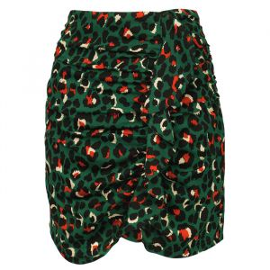 Color Leopard Ruffle Skirt - Dark Green