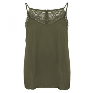 Lace Cami Top - Olive Green -S