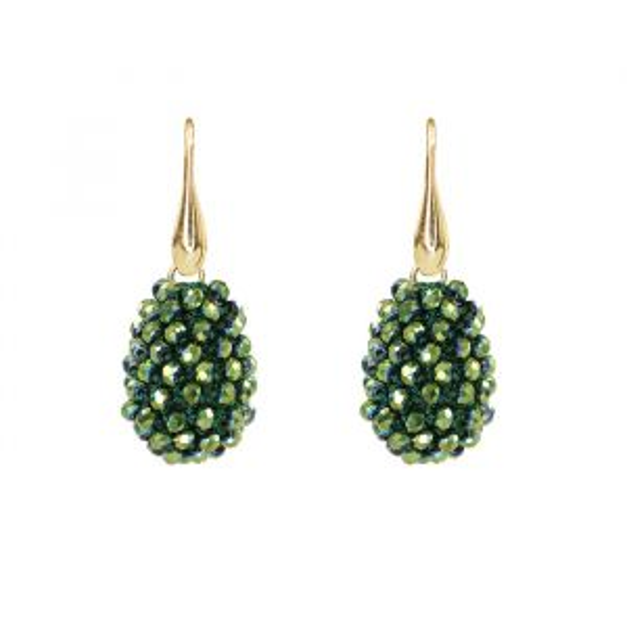 Green Crystal Beads Teardrop