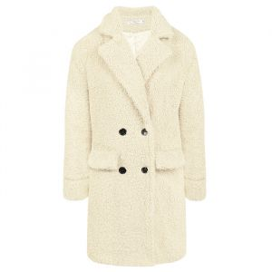 Long Teddy Coat Creme-XS
