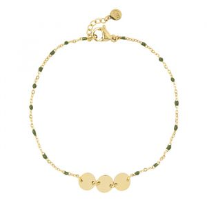 Green Enamel Bracelet Coins-Goud