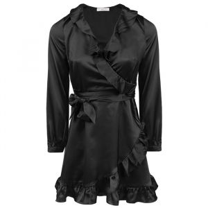 Black Satin Dress-XS