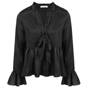 Black Satin Blouse-XS