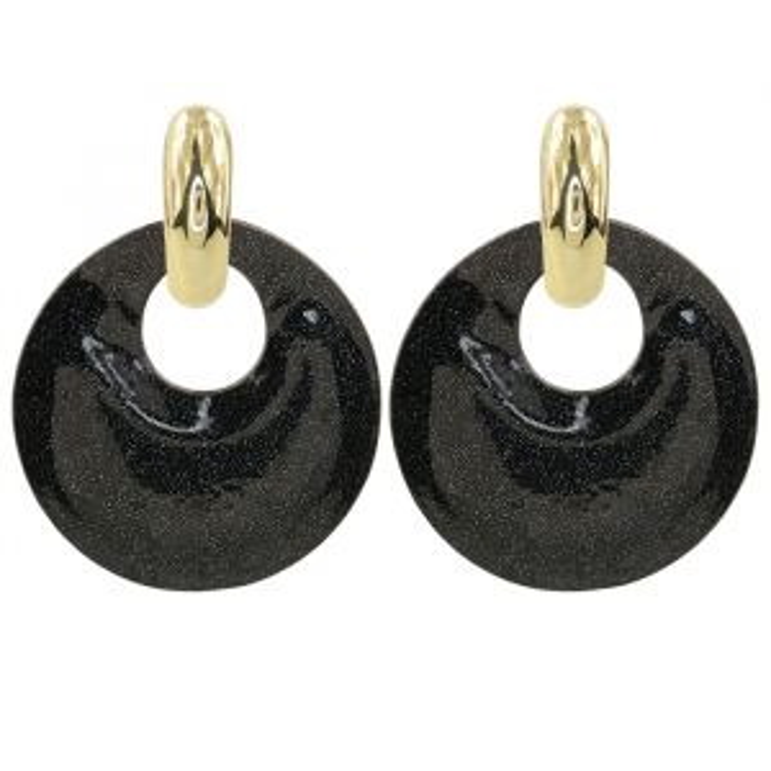 Black Hoop Earrings Glitter