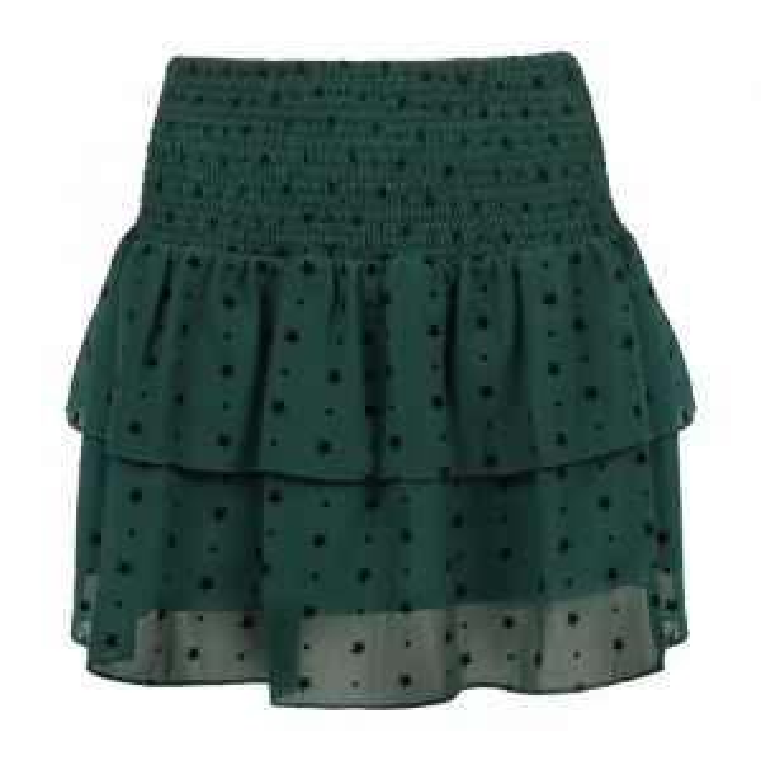 Mesh Star Skirt - Dark Green-XS