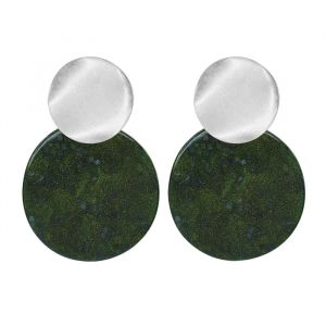 Green Shell Earring-Zilver
