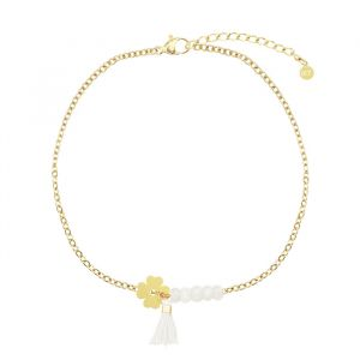 Witte klaver armband, Kralenarmbandje My Jewellery