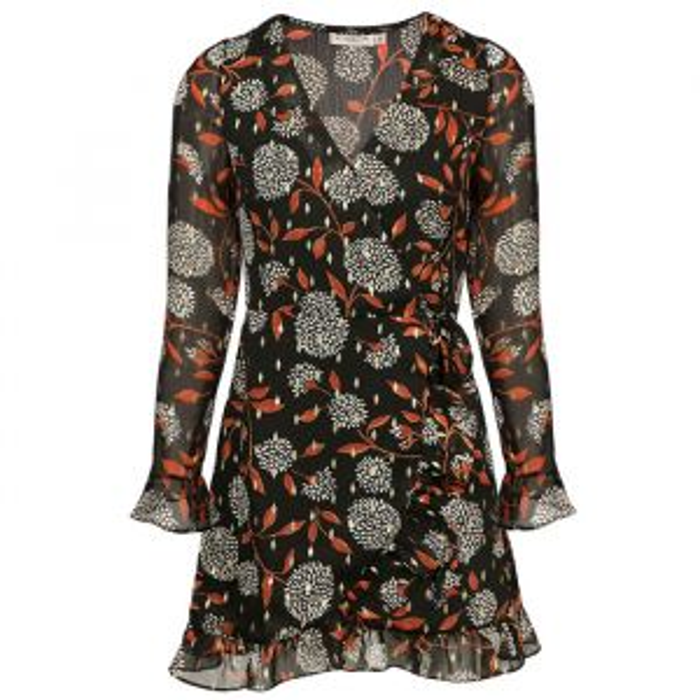 Overslag jurk mesh & print-S