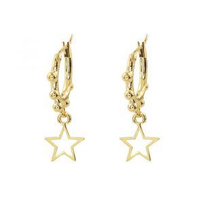 Star Earring Open Dots-Goud