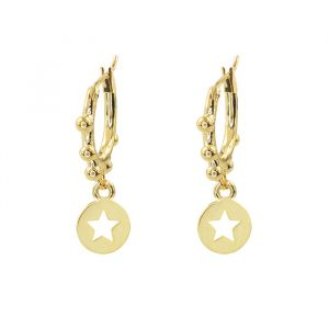 Little Hoop With Star Coin Dots-Goud
