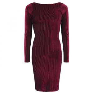 Velvet bodycon jurk bordeaux My Jewellery