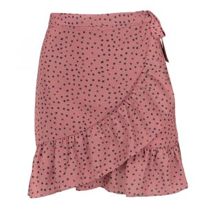 Dotted Wrap Skirt - Pink-S