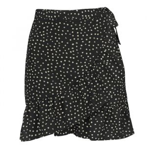 Dotted Wrap Skirt - Black-S