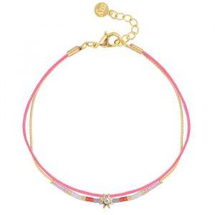 Sun Stone & Bead Bracelet – Pink/Gold