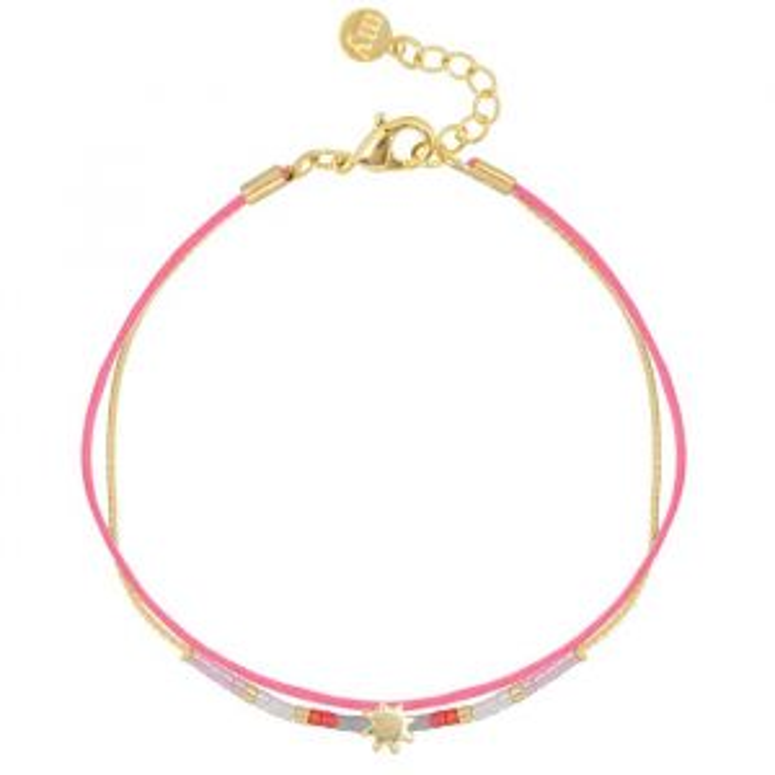 Sun & Bead Bracelet – Pink/Gold