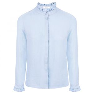 Ruffle Collar Blouse - Light Blue