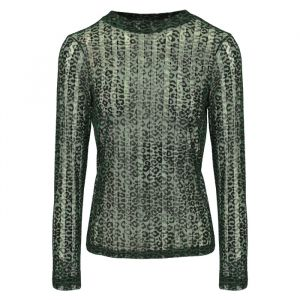 Dark Green Leopard Lace Top-XS