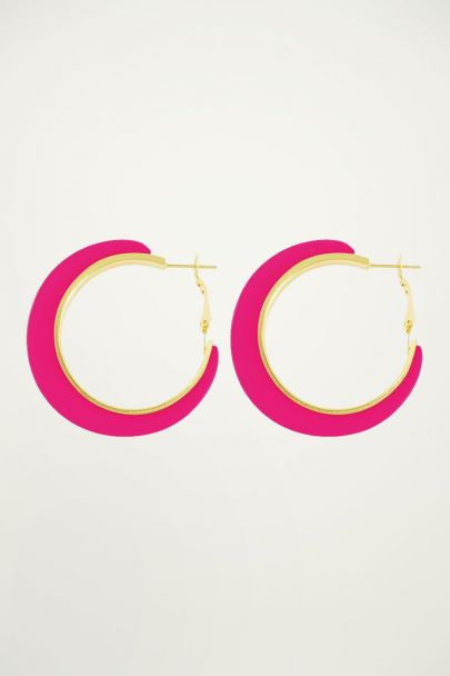 Neon roze oorringen, statement oorbellen My Jewellery