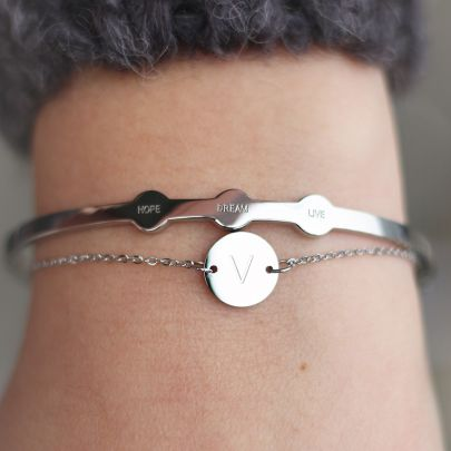 Silver Initial Coin Bracelet - A-Z
