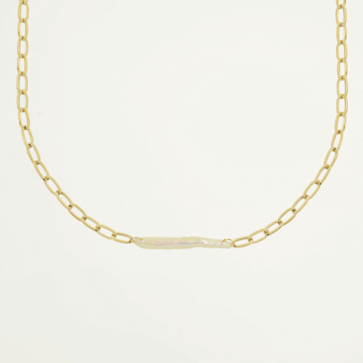 Schakelketting met brede parel, statement ketting