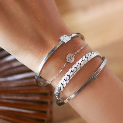 Small Chain Initial Bracelet - Silver