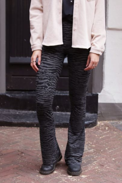Flared pants zebra print
